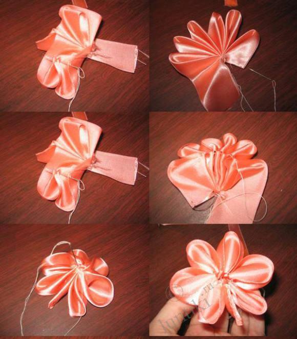 Как сделать цветочки своими руками из атласных лент